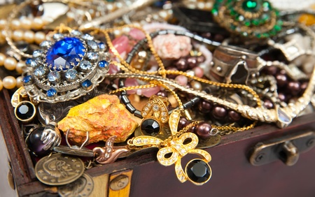 Closeup of Treasure chest with valuables and gem Stock Photo - 9210760