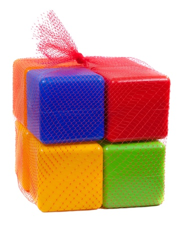 Packed plastic toy blocks on white background Stock Photo - 9210924