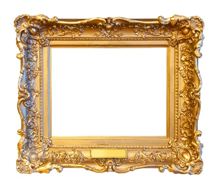 gilded: old gold frame. Isolated over white background Stock Photo