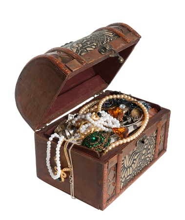 treasure box: Wooden treasure chest with valuables Stock Photo