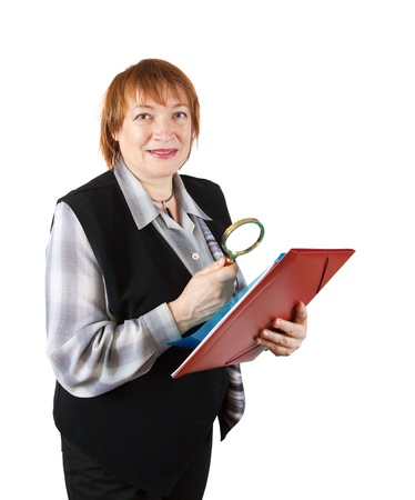 senior businesswoman reading through the lens. Isolated over white photo