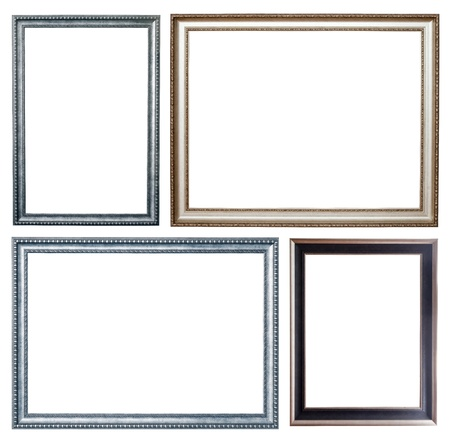 Set of few silver frames. Isolated over white background with clipping path Stock Photo - 9384385