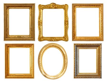 ornate gold frame: Conjunto de marcos de lujo dorado pocos Foto de archivo