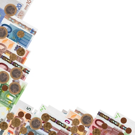 Border from many euro banknotes and coins over white background  photo