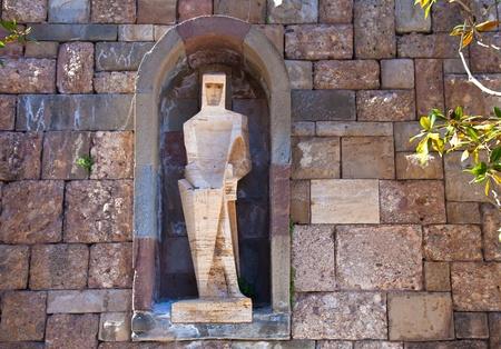 Saint George by Pablo Picasso - detail of Santa Maria de Montserrat monastery. Catalonia, Spain  photo