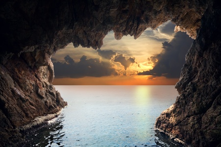 cavern: Inside view of grotto in coast. Nature composition