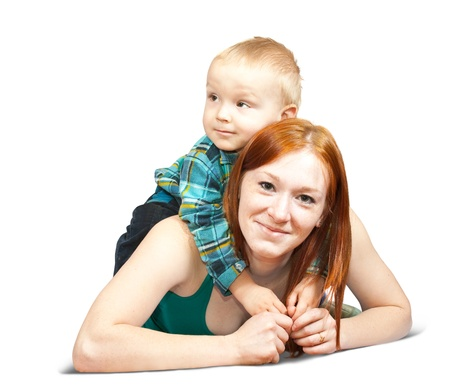 mother with her son. Isolated over white background Stock Photo - 9439863