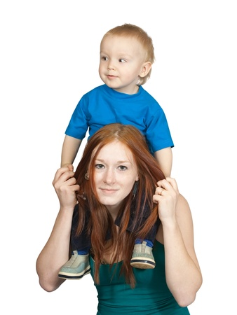 mother with her son. Isolated over white background Stock Photo - 9439862