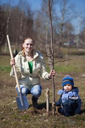 mother and son with spade outdoors planting  tree photo