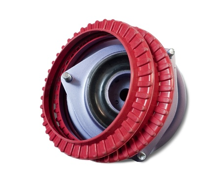 decelerator: automotive part. rubber shock mount. Isolated on white with clipping path Stock Photo