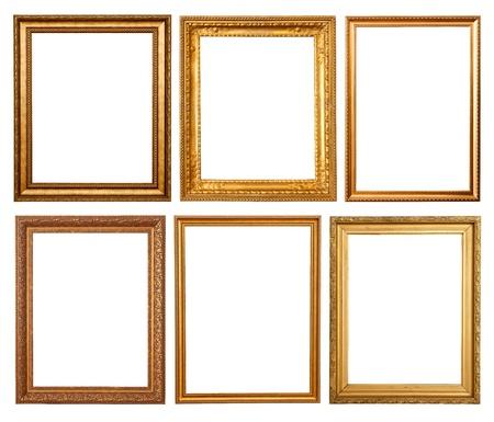 ornate gold frame: Conjunto de marcos de oro 6. Aislados sobre fondo blanco