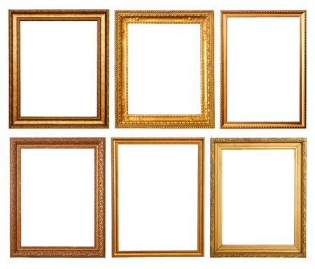antique frame: Set of 6 gold frames. Isolated over white background