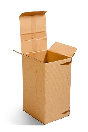 Open cardboard box. Isolated over white background photo