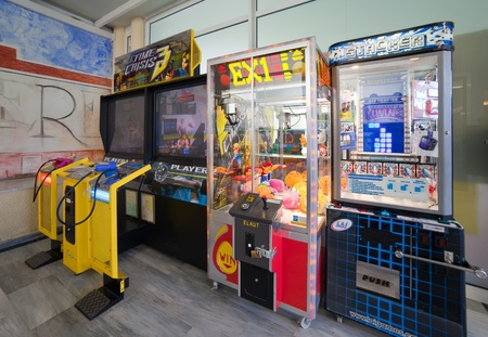 SALOU, SPAIN - APRIL 11: Interior of  childrens amusement room in April 9, 2011 in Salou, Spain.  Amusement machines for children in family hotel