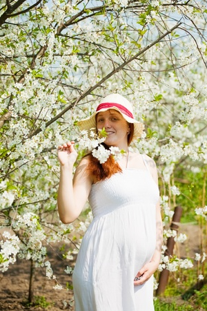 Portrait of 6 months pregnant woman in blossoming garden photo