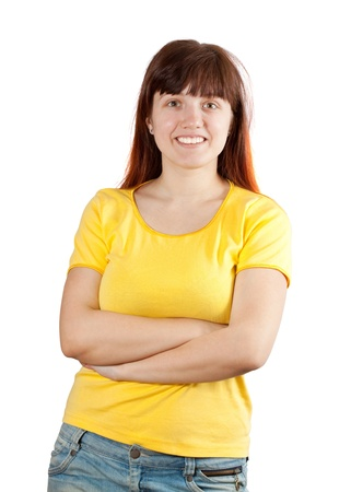 habitual: Portrait of casual young girl in yellow shirt over white