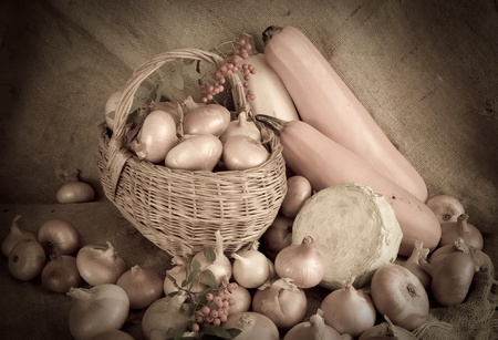 Retro photo of onion  in basket and vegetables Stock Photo - 9491135