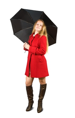 Woman in red coat and brown boots with black umbrella photo
