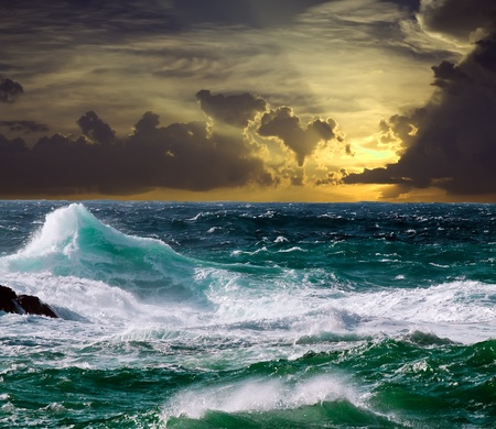Mediterranean wave during storm in sunset time Stock Photo - 9520510