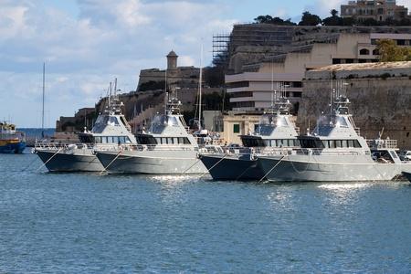 Military Boats lying at Marsamxett harbour (Valletta, Malta) Stock Photo - 9521988