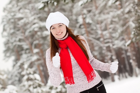 beauty sporty girl workouts at winter park photo