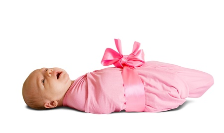 Little baby in diaper over white background Stock Photo - 9547479