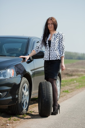 middle age  woman waiting support near  her broken car Stock Photo - 9547897