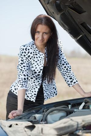 Woman waiting support near  her broken car Stock Photo - 9547847