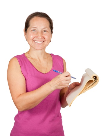 Happy mature woman with notebook over white background Stock Photo - 9579231