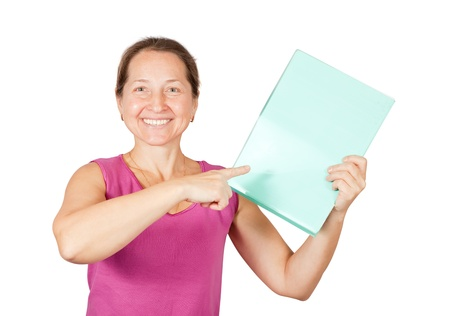 smiling mature woman pointing at documents folder. Isolated over white Stock Photo - 9579226