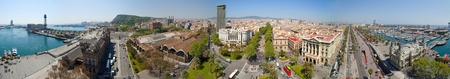 Panorama view of Barcelona from Columbus statue. Spain Stock Photo - 9663229