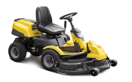 Yellow lawn mower. Isolated over white background Stock Photo