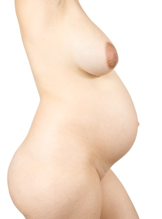 20s naked: Closeup of  nudity pregnant woman over white