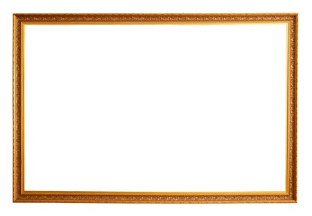 old picture: gold picture frame. Isolated over white background with clipping path