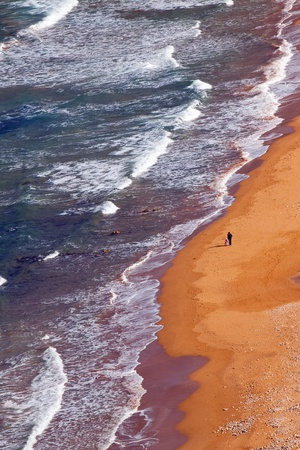 topdown: Top view of sand beach. Ramla Bay (Gozo, Maltese islands)