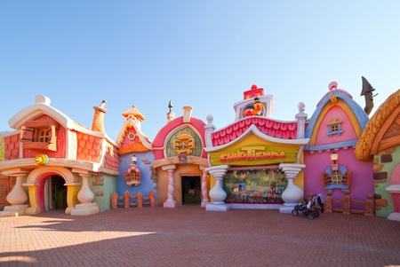 younger: PORT AVENTURA, SPAIN - APRIL 11: Port Aventura theme park  in April 11, 2011 in Salou, Spain.  Sesame Street theme for the younger visitors of the park.