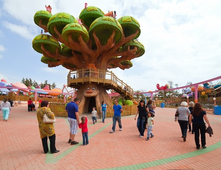port aventura: PORT AVENTURA, SPAIN - APRIL 13: Port Aventura theme park  in April 13, 2011 in Salou, Spain.  Sesame Street theme for the younger visitors of the park.