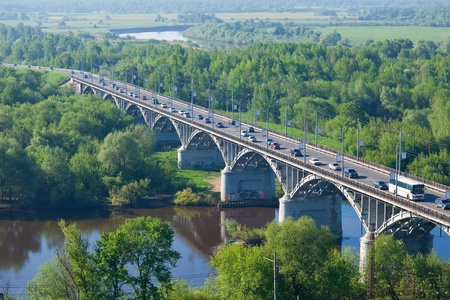 klyazma: View of Vladimir, Russia. Bridge  across Klyazma river