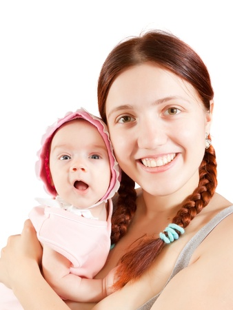 Happy mother with her little daughter. Isolated over white Stock Photo - 9766364