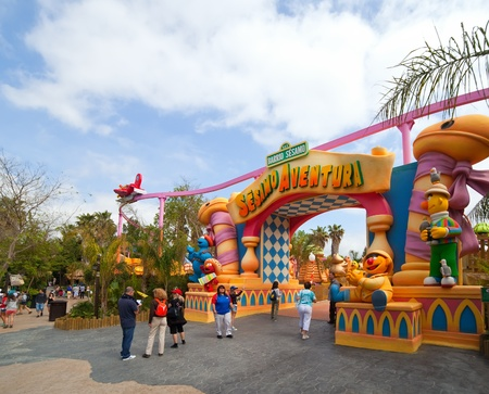 younger: PORT AVENTURA, SPAIN - APRIL 13: Port Aventura theme park  in April 13, 2011 in Salou, Spain.  Sesame Street theme for the younger visitors of the park.