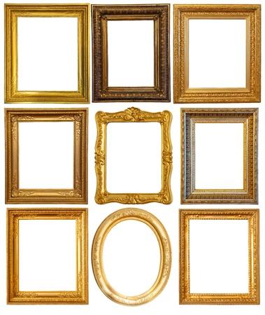ornate gold frame: Conjunto de unos marcos de lujo dorado. Aisladas sobre fondo blanco con trazado de recorte