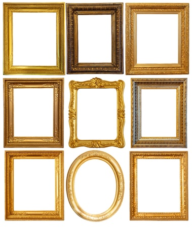 ornate gold frame: Set of few Luxury gilded frames. Isolated over white background with clipping path