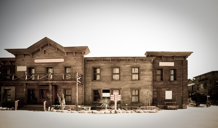 west usa: Retro photo of Far west town Stock Photo