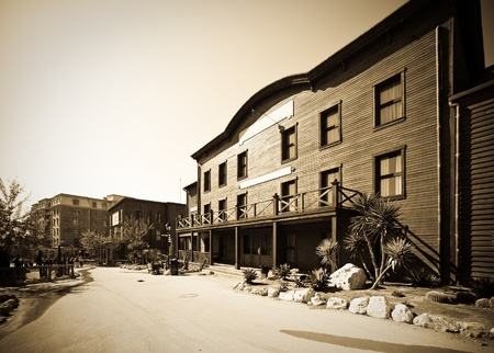 Retro photo of Far west town photo