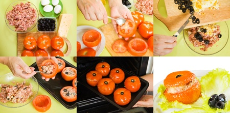 farci: stages of cooking of baked farci tomato