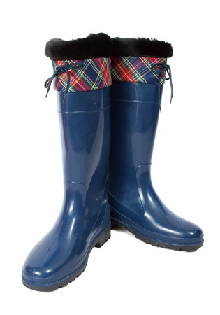 welly:  waterproof  rubber boots. Isolated on  white background  Stock Photo