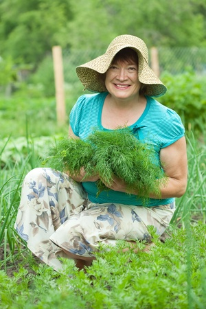 Happy mature woman with harvested dill in garden photo