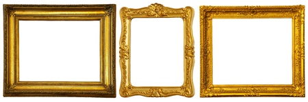 Set of few gold frames. Isolated over white background with clipping path photo