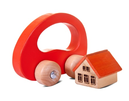 Wooden  toy house and car on white background Stock Photo - 9854684