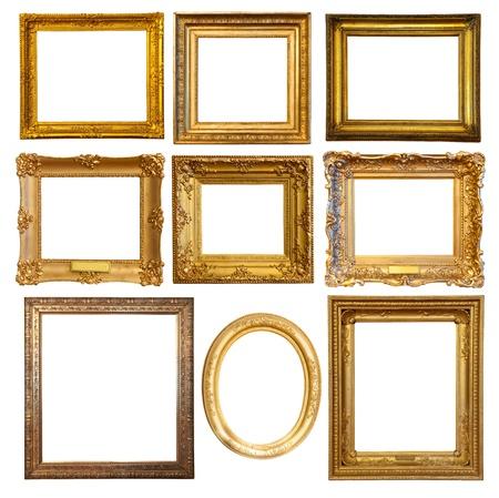 gild: Set di cornici dorate di lusso pochi. Isolato su sfondo bianco con percorso di clipping